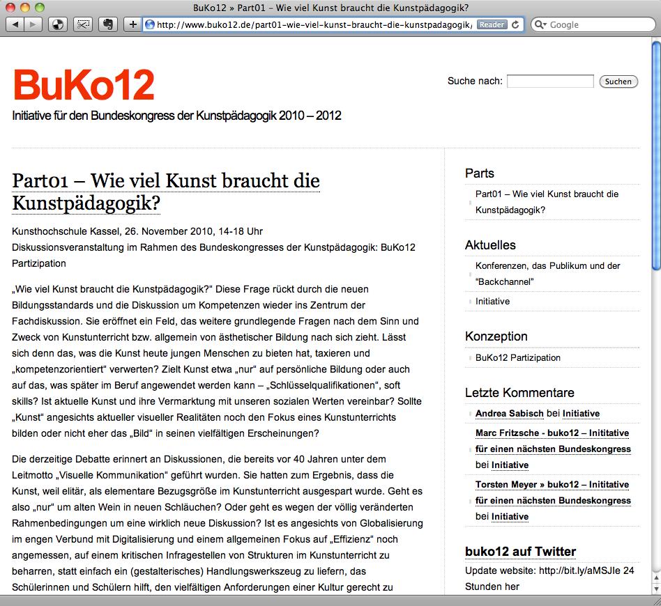BuKo12 startet: Info zum Part01 online